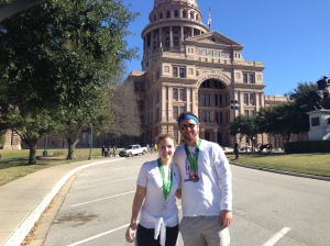 Sister and I after Austin half in front of Texas Capital